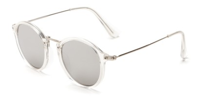 Angle of Darwin #6124 in Clear/Silver Frame with Silver Lenses, Women's and Men's Round Sunglasses