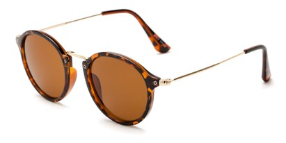 Angle of Darwin #6124 in Tortoise/Gold Frame with Amber Lenses, Women's and Men's Round Sunglasses