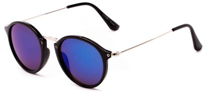 Angle of Gambia #6123 in Black/Silver Frame with Blue Mirrored Lenses, Women's and Men's Round Sunglasses