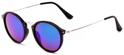 Angle of Gambia #6123 in Black/Silver Frame with Blue/Green Mirrored Lenses, Women's and Men's Round Sunglasses