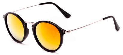 Angle of Gambia #6123 in Black/Silver Frame with Orange Mirrored Lenses, Women's and Men's Round Sunglasses