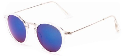Angle of Gambia #6123 in Clear/Silver Frame with Blue Mirrored Lenses, Women's and Men's Round Sunglasses