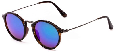 Angle of Gambia #6123 in Tortoise/Grey Frame with Blue/Green Mirrored Lenses, Women's and Men's Round Sunglasses