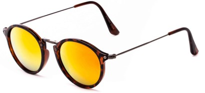 Angle of Gambia #6123 in Tortoise/Grey Frame with Orange Mirrored Lenses, Women's and Men's Round Sunglasses
