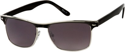 Angle of Montreal #3011 in Black/Silver Frame, Women's and Men's Retro Square Sunglasses