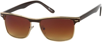 Angle of Montreal #3011 in Brown/Gold Frame, Women's and Men's Retro Square Sunglasses
