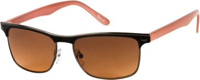 Angle of Montreal #3011 in Black/Grey/Pink Frame, Women's and Men's Retro Square Sunglasses