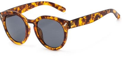 Angle of Arbor #6155 in Glossy Brown Marble Frame with Grey Lenses, Women's Round Sunglasses