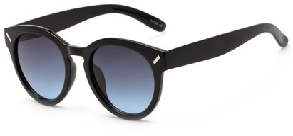 Angle of Arbor #6155 in Glossy Black Frame with Gradient Blue Lenses, Women's Round Sunglasses