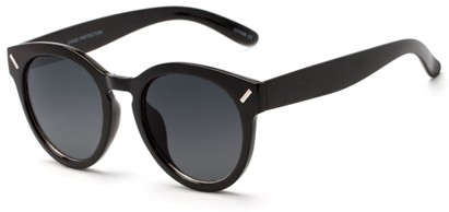 Angle of Arbor #6155 in Glossy Black Frame with Grey Lenses, Women's Round Sunglasses