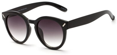 Angle of Arbor #6155 in Glossy Black Frame with Gradient Smoke Lenses, Women's Round Sunglasses