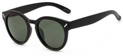 Angle of Arbor #6155 in Flat Black Frame with Green Lenses, Women's Round Sunglasses