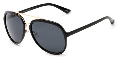 Angle of Moher #6170 in Black and Gold Frame with Grey Lenses, Women's and Men's Aviator Sunglasses