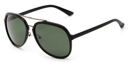 Angle of Moher #6170 in Matte Black and Grey Frame with Green Lenses, Women's and Men's Aviator Sunglasses