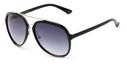 Angle of Moher #6170 in Black and Silver Frame with Smoke Lenses, Women's and Men's Aviator Sunglasses