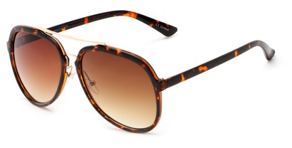 Angle of Moher #6170 in Brown Tortoise and Gold Frame with Amber Lenses, Women's and Men's Aviator Sunglasses