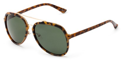 Angle of Moher #6170 in Yellow Tortoise and Gold Frame with Green Lenses, Women's and Men's Aviator Sunglasses