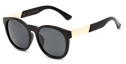 Angle of Gorge #6191 in Glossy Black and Gold Frame with Grey Lenses, Women's Round Sunglasses