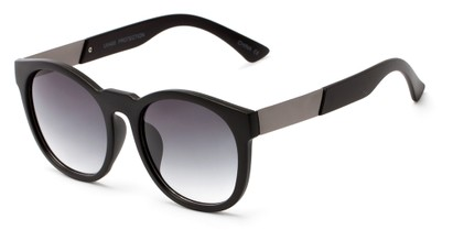 Angle of Gorge #6191 in Matte Black and Grey Frame with Smoke Lenses, Women's Round Sunglasses