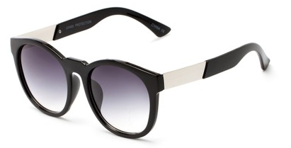 Angle of Gorge #6191 in Glossy Black and Silver Frame with Smoke Lenses, Women's Round Sunglasses