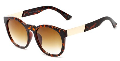 Angle of Gorge #6191 in Tortoise and Gold Frame with Amber Lenses, Women's Round Sunglasses