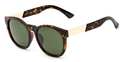 Angle of Gorge #6191 in Tortoise and Gold Frame with Green Lenses, Women's Round Sunglasses