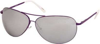 Angle of SW Mirrored Square Aviator Style #1999 in Purple Frame, Women's and Men's