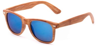 Angle of Hatchet #6200 in Faux Wood Frame with Blue Mirrored Lenses, Women's and Men's Retro Square Sunglasses