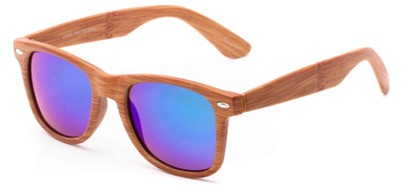Angle of Hatchet #6200 in Faux Wood Frame with Green Mirrored Lenses, Women's and Men's Retro Square Sunglasses