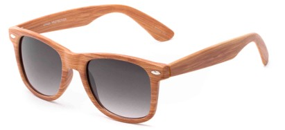 Angle of Hatchet #6200 in Faux Wood Frame with Smoke Lenses, Women's and Men's Retro Square Sunglasses