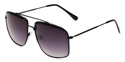 Angle of Casper #6204 in Black Frame with Dark Smoke Lenses, Women's Square Sunglasses
