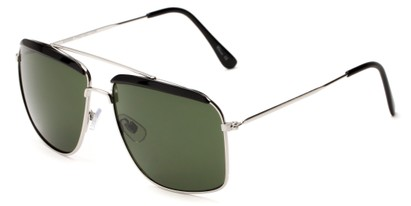 Angle of Casper #6204 in Black/Silver Frame with Green Lenses, Women's Square Sunglasses