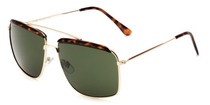 Angle of Casper #6204 in Gold/Tortoise Frame with Green Lenses, Women's Square Sunglasses