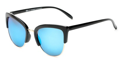 Angle of Sadie #6254 in Black Frame with Blue Mirrored Lenses, Women's Cat Eye Sunglasses