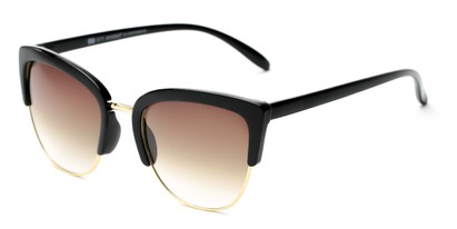 Angle of Sadie #6254 in Black Frame with Amber Lenses, Women's Cat Eye Sunglasses