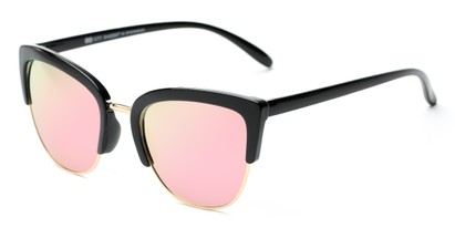 Angle of Sadie #6254 in Black Frame with Pink Mirrored Lenses, Women's Cat Eye Sunglasses