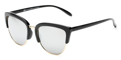 Angle of Sadie #6254 in Black Frame with Silver Mirrored Lenses, Women's Cat Eye Sunglasses