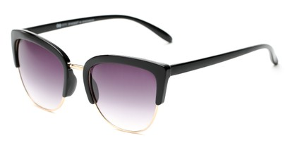 Angle of Sadie #6254 in Black Frame with Smoke Lenses, Women's Cat Eye Sunglasses