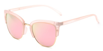 Angle of Sadie #6254 in Pink Frame with Pink Mirrored Lenses, Women's Cat Eye Sunglasses
