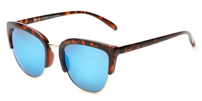 Angle of Sadie #6254 in Tortoise Frame with Blue Mirrored Lenses, Women's Cat Eye Sunglasses