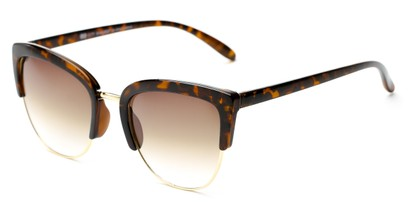 Angle of Sadie #6254 in Tortoise Frame with Amber Lenses, Women's Cat Eye Sunglasses