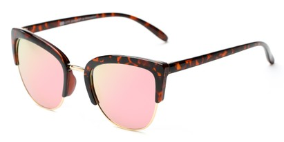 Angle of Sadie #6254 in Tortoise Frame with Pink Mirrored Lenses, Women's Cat Eye Sunglasses