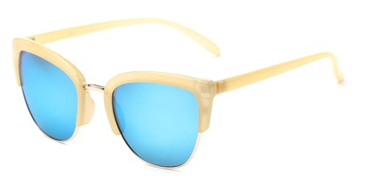 Angle of Sadie #6254 in Yellow Frame with Blue Mirrored Lenses, Women's Cat Eye Sunglasses