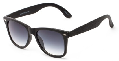 Angle of Switchback #6272 in Black Frame with Gradient Smoke Lenses, Women's and Men's Retro Square Sunglasses