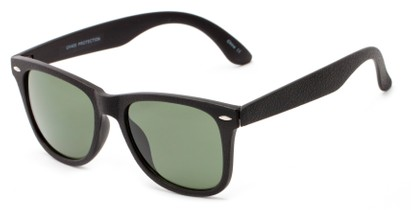 Angle of Switchback #6272 in Black Frame with Green Lenses, Women's and Men's Retro Square Sunglasses