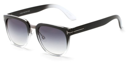 Angle of Amsterdam #6284 in Black/Clear Fade Frame with Smoke Lenses, Women's and Men's Retro Square Sunglasses