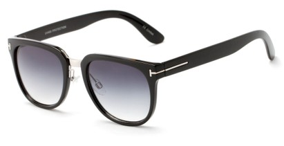 Angle of Amsterdam #6284 in Glossy Black Frame with Smoke Lenses, Women's and Men's Retro Square Sunglasses
