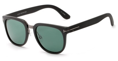 Angle of Amsterdam #6284 in Matte Black Frame with Green Lenses, Women's and Men's Retro Square Sunglasses