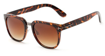 Angle of Amsterdam #6284 in Glossy Tortoise Frame with Amber Lenses, Women's and Men's Retro Square Sunglasses
