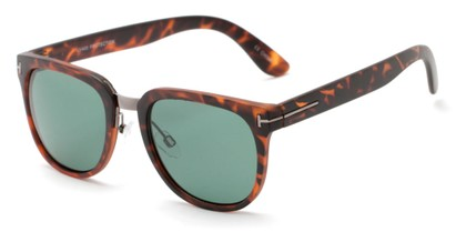 Angle of Amsterdam #6284 in Matte Tortoise Frame with Green Lenses, Women's and Men's Retro Square Sunglasses